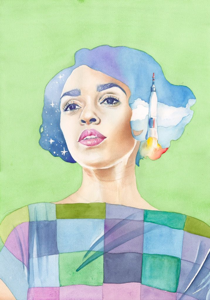 A portrait of an actor from Hidden Figures movie in watercolor